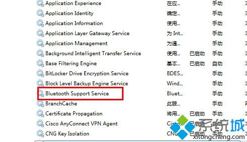 "找到""Bluetooth Support Service"""