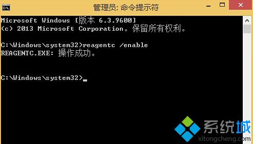 输入命令Reagentc /enable