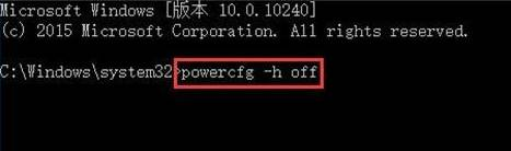 输入:powercfg -h off