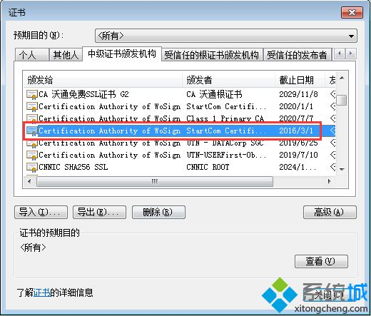 找到Certificatetion Authority of WoSign